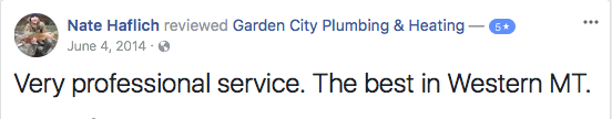 5 Missoula Montana Plumbing Review on Facebook
